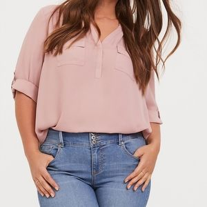 Torrid Dusty Pink Georgette Pullover Blouse 2X